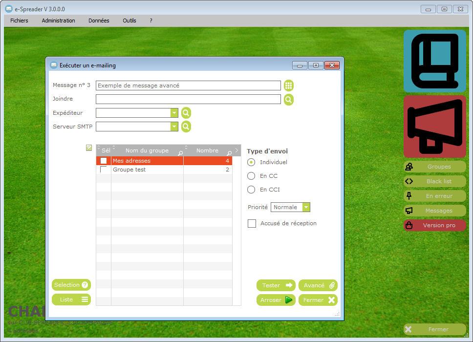 Le nouvel écran principal d'e-Spreader V3